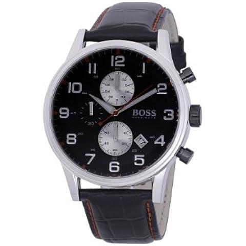 Hugo Boss Gents Modern 1512631 - Reloj cronógrafo de cuarzo para hombre, correa de cuero color negro (cronómetro)