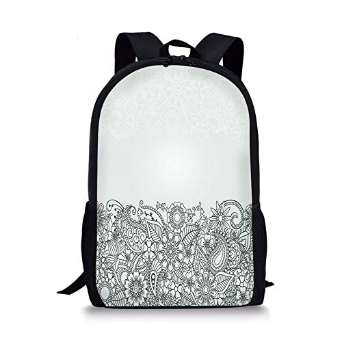 School Bags Henna,South Asian Body Paint Design Floral Arrangement with Various Wildflowers and Leaves Decorative,Green White for Boys&Girls Mens Sport Daypack