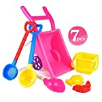 7PCS Childrens Wheelbarrow Set Gardening and Seaside Beach Play Set for Outdoor Activities Travel Beach Buggy Sand Toys with Accessories Including Bucket, Spade, Rake Holiday Gift