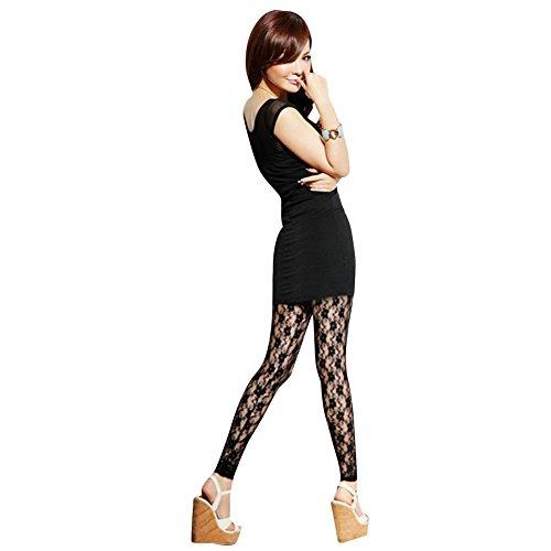 Andy's Share Frauen Damen Spitze Gamaschen Hosen Strumpfhosen zwei Farben (Schwarz)