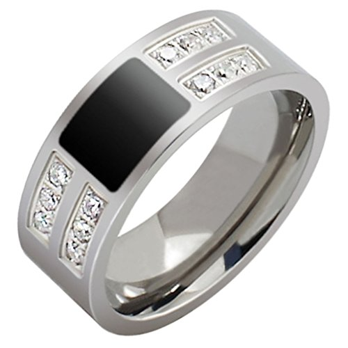 Anelli in acciaio inox zirconi Wedding Bands Uomo Bianco polacco Fine 8MM Dimensione 25 di AieniD - Religiosi Diamante Wedding Band