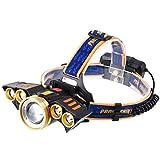 MUTANG 5LED Starke Scheinwerfer USB-Aufladung Im Freien Wasserdichte Taschenlampe T6 Multi-LED Lampe Induktion Stirnlampe Angeln Lichter (Farbe : Gold)