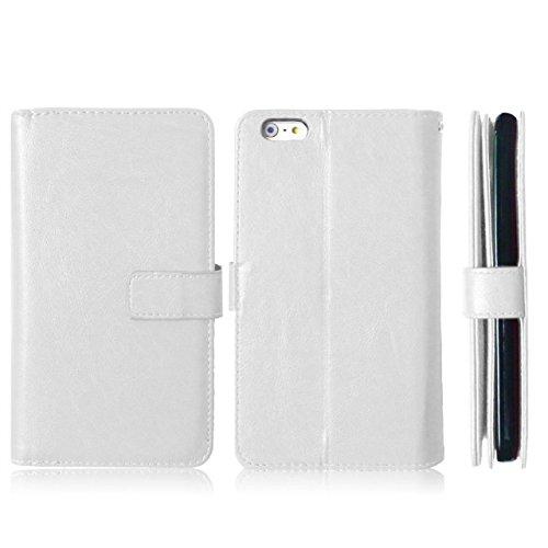 iPhone Case Cover Normallack-Qualitäts-PU-lederner Kasten-Abdeckungs-Standplatz-Mappen-Kasten für iPhone 6S PLUS ( Color : Red , Size : 6S Plus ) White