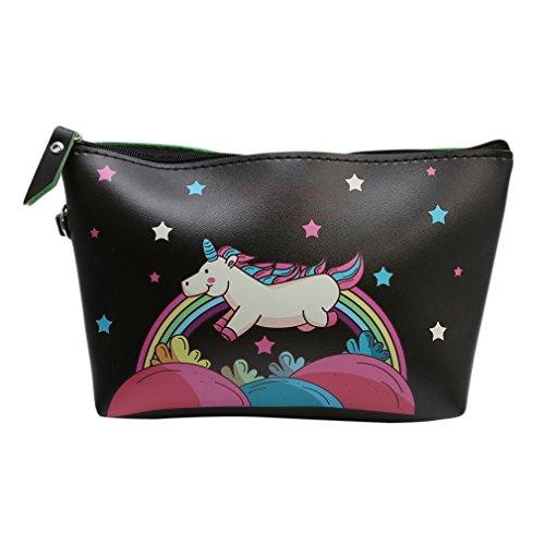 eutel Kosmetik-Tasche Unicorn Täschchen Federmappe Geschenk Beutel Mädchen (Schwarz) (Geschenk-taschen Schwarz)