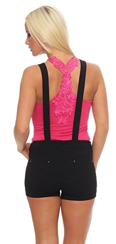 Fashion4Young - Short - Taille empire - Femme Schwarz