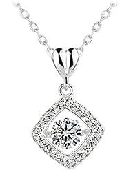 Le Premium® Plata de ley 925amor Square de Dancing de diamante de colgante collar con colgante Craft fijo AAA Crystal Clear Zircon