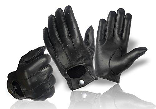 Botón de piel auténtica guantes para mujer Classic | de hombre | conductores motocicleta montar guantes de piel–tamaño: S–XXL negro negro medium