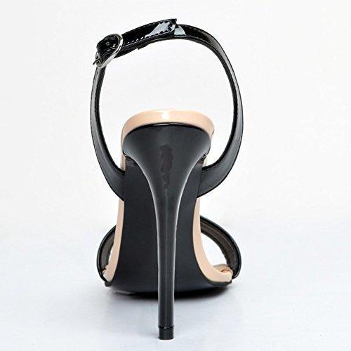 Kolnoo Damen Faschion Strappy Stilett Absatz Sandelholze Fessel Bügel Stulpe Peep-toe Schuhe Black