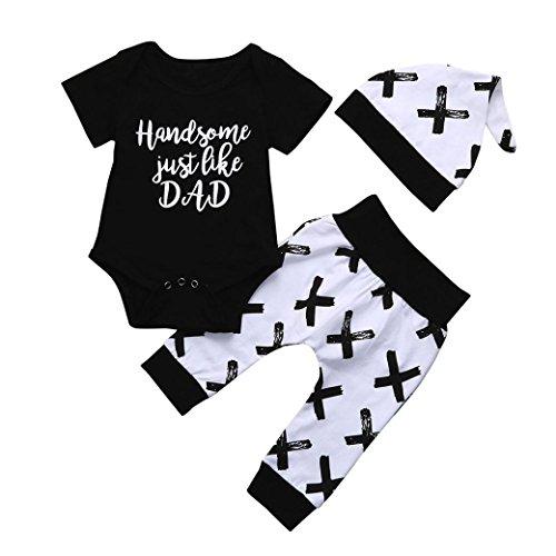 Neugeborenes Print Tops T-Shirt + Hosen Outfits Set Mädchen Babykleidung Spielanzug tops Hose Outfit Set Kinderbekleidung Blumen Kleidung Boy Set (6M-24M) LMMVP (Schwarz, 70CM (6M)) Team-varsity-jacke