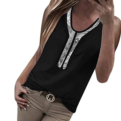 UFACE Oberteil Bluse Mode Frauen Pailletten Sommer Tank Top Oansatz Bluse Ärmelloses T-Shirt Weste Crop Tops T-Shirt Cami Top Camisole Blusen Tuniken Sommer Oberteile