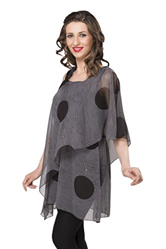 ISHIN-Casual-Sleeveless-Solid-Womens-Georgette-Grey-Western-Top
