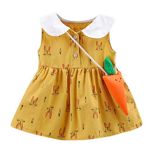 Kleinkind Kind Baby Mädchen Party Prinzessin Kleid Kleidung Set Cartoon Hase Gedruckt Weste Kleid + Rettich Tasche Mode Süß Freizeit Sommerkleid Lose Baumwolle Ärmelloses Kleid (Für Halloween Biker-mädchen-ideen)