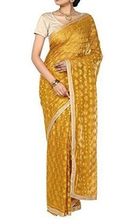 RED BIRD FASHION Phulkari Kanchan designed Chiffon Saree Yellow Colour