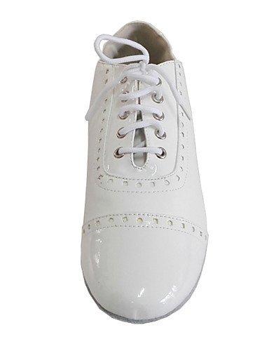 ShangYi Chaussures de danse ( Blanc ) - Personnalisables - Talon Bottier - Cuir / Cuir Verni - Latine / Moderne / Salsa White