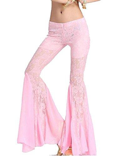 YuanDian Donna Casual Colore Solido Bassa Vita Danza Del Ventre Pantaloni Eleganti Slim Fit Orientale Araba Danza Costumi Tribal Belly Dance Pantaloni Rosa
