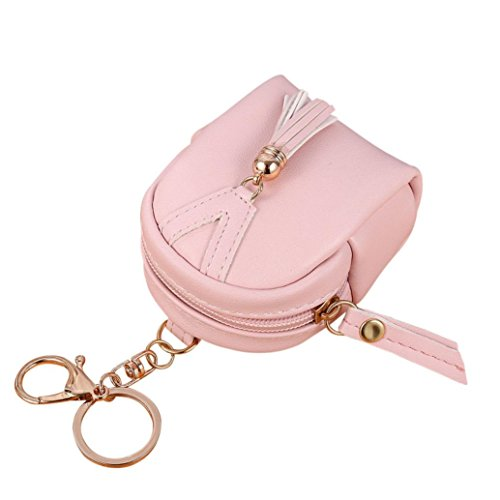 Portafoglio Donna, Tpulling le donne semplice chiave borsa, portafoglio tassel portamonete titolari borsa (Pink) Pink