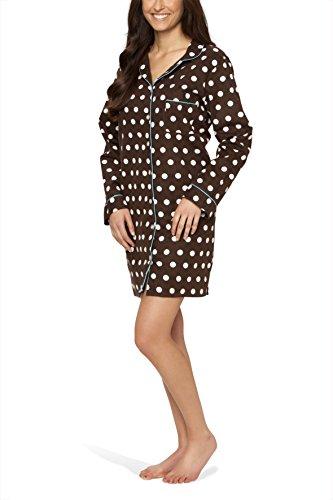 Flanell-Nachthemd für Damen mit Knopfleiste und Polka Dot-Design - Moonline, Farbe:braun, Größe:40/42 (Damen Baumwoll-flanell-nachthemd)