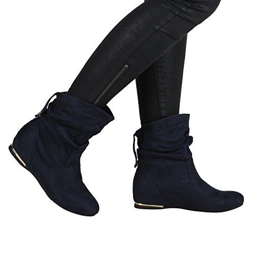 Flache Damen Stiefeletten Wildlederoptik Boots Schlupfstiefel Trendy Dunkelblau