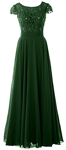 MACloth Women Cap Sleeve Mother of Bride Dress Vintage Lace Evening Formal Gown Dark Green