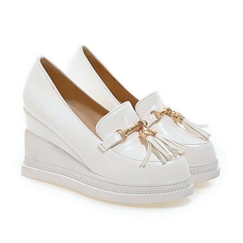 VogueZone009 Femme Tire à Talon Haut Pu Cuir Couleur Unie Rond Chaussures Légeres Blanc