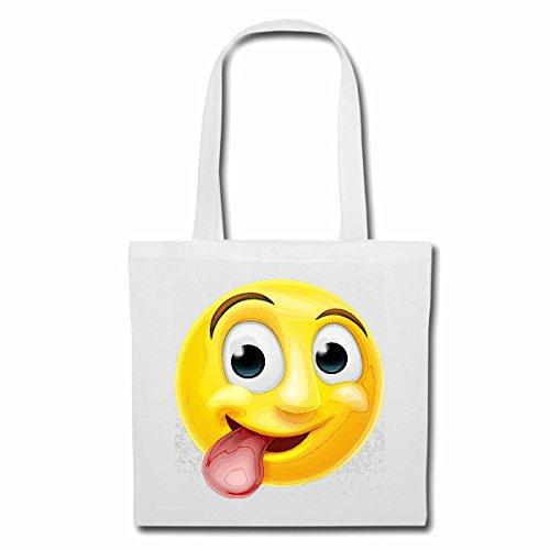 sac à bandoulière CULT SMILEY AVEC LONG Tongue sourire EMOTICON APP de SMILEYS SMILIES ANDROID IPHONE EMOTICONS IOS Sac Turnbeutel scolaire en blanc