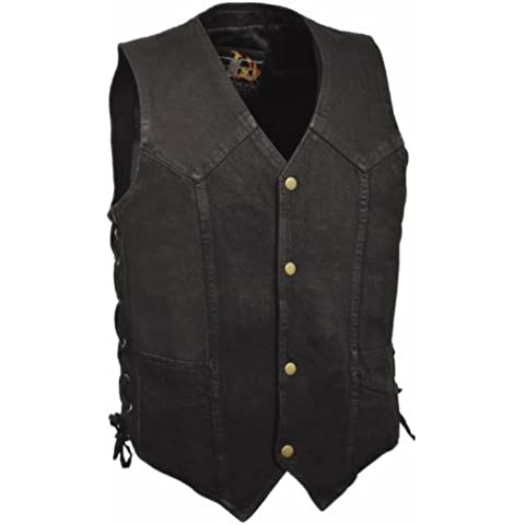 Biker's Edge Men's Side Lace Basic Denim Vest (Black, Large)