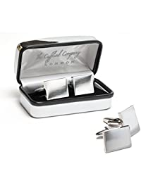 Personalised Silver or Gold Rectangular Cufflinks In Chrome Case ENGRAVED (Silver Plated)