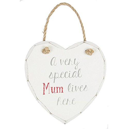 Azzaria...Shabby Chic Cœur décoratif en bois Blanc délavé Expression Plaques...A Very Special Mum Lives Here -