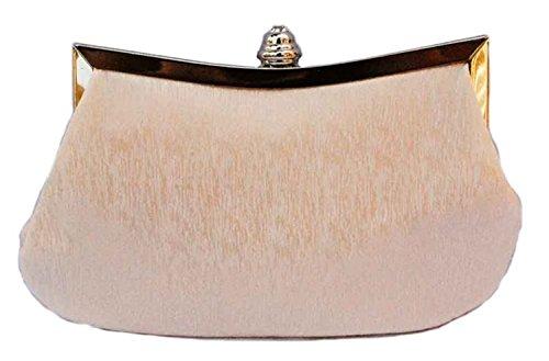 ERGEOB® Donna Clutch sacchetto di sera borsetta Clutch piccola rasotaschino Banchetto taschino matrimonio taschino sacchetto tessuto albicocca
