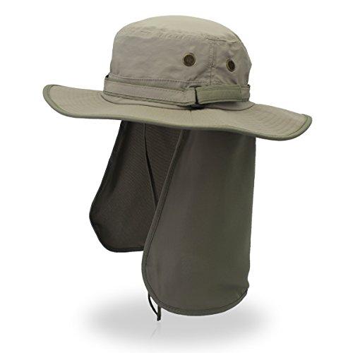 Outfly Fisherman - Gorro para hombre con diseño de olas anchas y gorra de pesca, antiultravioleta en verano con cuello de guardia, un sombrero multiusos que se puede envolver en el cuello, color L grey+A green, tamaño 55-61cm(21.65-24inch)