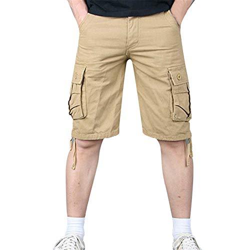 Aiserkly Herren Sommer Multi-Pocket Overalls Shorts Cargo Kurze Slim Fit Arbeitshose mit Bundfalte Freizeithose Hose - Mens Flared-hose