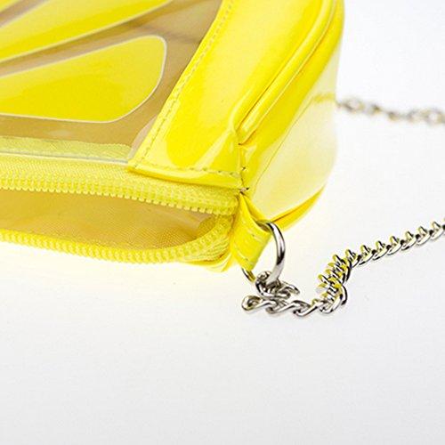 AiSi Mädchen 3D kleine süße Obst Tasche mini Umhängetasche moderne Handtasche transparente Abendtasche Clutch Party-bags mit Umhängegurt Reißverschluss Ananas Zitrone