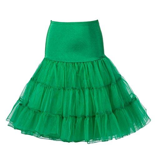 Buttereme 50er Vintage Retro Reifrock Unterrock Petticoat für Abendkleid Brautkleid Partykleid Rockabilly Kleid (Schwarz,M) Grün