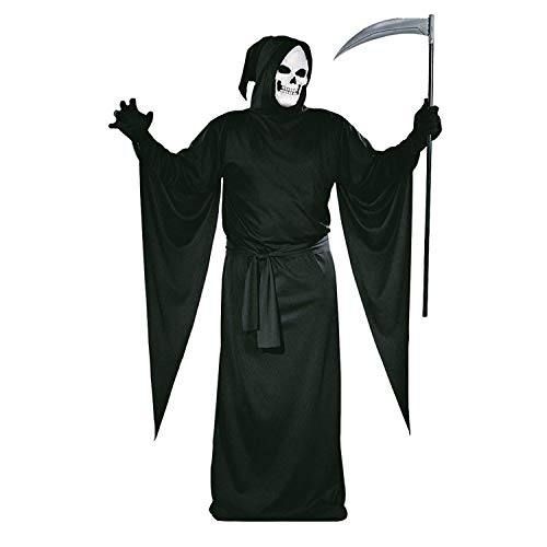Männer Kostüm Tin Mann - Tante Tina Henker, Sensenmann Halloween-Kostüm mit Kapuze - Henker Kutte Tod Mönch - Schwarz - L (Gr. 54/56)