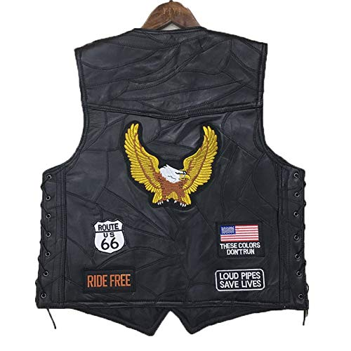 AIQIXING Motorrad-Radfahren Vest Punk Retro Classic Patch Motorcycle Jacket Leder Golden Eagle Stickerei Design Cycling Club Casual Wear-Outdoor Sportswear,Black,XXL - Eagle Leder-jacke