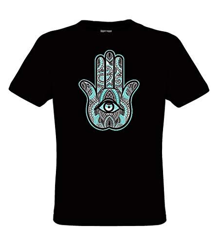 DarkArt-Designs Henna Hand - mystisches Symbol T-Shirt für Kinder und Erwachsene - Ethnomotiv Shirt Ethno Indianer Hippie Fun Party&Freizeit Lifestyle Regular fit, Größe XL, schwarz - Henna Augen