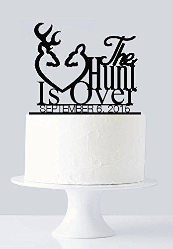 Hochzeitstorte Toppers Hirsch (Jagd ist über Hochzeit Kuchen Topper, Hirsch Geweih, Buck und Doe Hochzeit Tortenaufsatz personalisierbar)