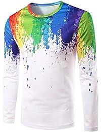 BUSIM Men's Long Sleeve Sweater Shirt Polka Dot Painted Print Long Fashion Round Neck Slim Casual T-Shirt Shirt...