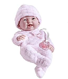 "JC TOYS-La Mini La Newborn Boutique - Realistic 9.5"" Anatomically Correct Real Girl Baby Doll Dressed in Pink - All Vinyl Open Mouth Designed by Berenguer, Color Pink, quot (18453)"