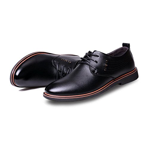 GRRONG Herren-Leder-Schuhe Breathable Freizeit Geschäfts-Schwarz-Braun Black