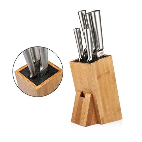 SHINY HOME® Universal Messerblock Messerhalter Borsteneinsatz herausnehmbar Messeraufbewahrung ohne Messer Bambus mit Borsteinsatz schwarz - 5