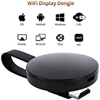 Dongle Display WIFI, ATETION 2018 WiFi Senza Fili Ricevitore HDMI TV 1080P Mini Display Airplay Miracast DLNA per IOS/Android/Windows/Mac, Nero