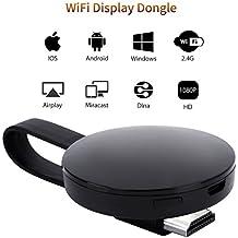 [Certificado CE ROSH] WiFi Aparato para la Conexión de WiFi, ATETION 2018 WiFi inalámbrico 1080 P Mini Aparato Receptor HDMI TV Miracast DLNA Airplay para iOS/Android/Mac, Negro