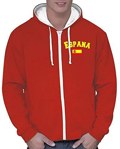 Coole-Fun-T-Shirts Spanien Sweatshirtjacke Varsity Jacke rot-Weiss, Gr.XL