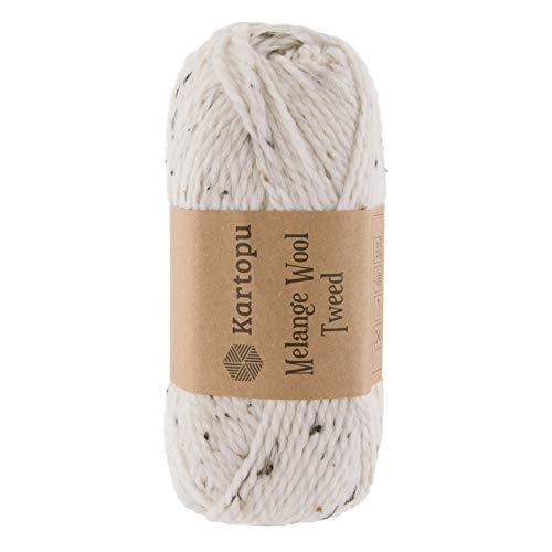 maDDma ® 100g Strickgarn Kartopu Melange Wool Tweed Strick-Garn Häkelgarn Wolle, Farbwahl, Farbe:M1385 Creme -