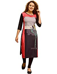 Peacock Fashion black color floral Printed straight cut crepe long Kurti For Women
