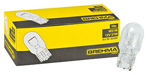 Preisvergleich Produktbild 10er Set BREHMA Glassockellampe W21W 12 Volt 21 Watt W3x16d