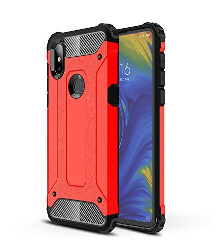 AOBOK Funda Xiaomi Mi Mix 3, Rojo Moda Armadura Híbrida Carcasa Shock Absorción Proteccion, Anti-Scratch, Funda Case para Xiaomi Mi Mix 3 Smartphone