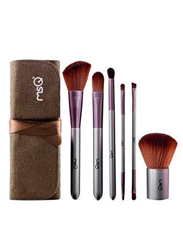 LEXUPE Outils en Bois de Maquillage de Manche en Bois de Brosse Artificielle de Maquillage de Fibre(café,34)
