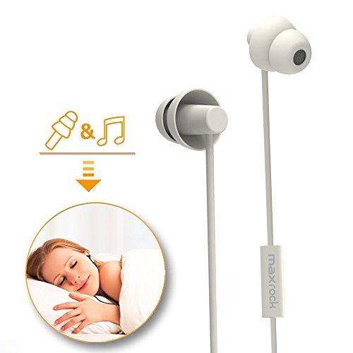 MAXROCK Confortable Écouteurs de Sommeil Unique Doux Silicone Isolement de Bruit Écouteurs pour Latéraux latéraux 3.5mm Jack Compatible avec iPhone Samsung Wiko Sony Huawei (Blanc)